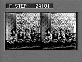 view [Four young women posing against heavily decorated wall. Stereo photonegative.] digital asset: [Four young women posing against heavily decorated wall. Stereo photonegative.]