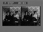 view [Four young women posing against boldly decorated wallpaper with geometric floral design. Stereo photonegative.] digital asset: [Four young women posing against boldly decorated wallpaper with geometric floral design. Stereo photonegative.]