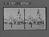 view [Equestrian statue and gateway arch in Iberia.] 11411 interpositive digital asset: [Equestrian statue and gateway arch in Iberia.] 11411 interpositive.