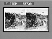 view A dumping train unloading soil over old French cars to repair a break on the Panama Railroad. [Active no. 11534 : stereo interpositive,] digital asset: A dumping train unloading soil over old French cars to repair a break on the Panama Railroad. [Active no. 11534 : stereo interpositive,] 1906.