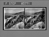 view Mound Terrace N.E. to Mammoth Hot Springs Hotel. [Active no. 12013 : stereo interpositive,] digital asset: Mound Terrace N.E. to Mammoth Hot Springs Hotel. [Active no. 12013 : stereo interpositive,] 1904.