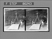 view Steel plate 6x25 ft. and huge shear for trimming. [Active no. 13140 : stereo interpositive.] digital asset: Steel plate 6x25 ft. and huge shear for trimming. [Active no. 13140 : stereo interpositive.]