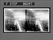 view Sawing a hot 20-inch beam, rolling mill. [Active no. 13144 : stereo interpositive.] digital asset: Sawing a hot 20-inch beam, rolling mill. [Active no. 13144 : stereo interpositive.]