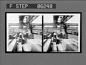 view Piling huge steel beams in the loading yards. [Active no. 13145 : stereo interpositive] digital asset: Piling huge steel beams in the loading yards. [Active no. 13145 : stereo interpositive, 1907?].