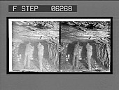 """view Miners pushing an """"empty,"""" sides of tunnel show depth of coal vein, coal mine. [Active no. 13220 : stereo interpositive,] digital asset: Miners pushing an """"empty,"""" sides of tunnel show depth of coal vein, coal mine. [Active no. 13220 : stereo interpositive,] 1906."""