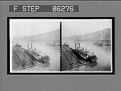 view Loaded coal barges and steamers on the Monongahela River. [Active no. 13224 : black-and-white stereo interpositive,] digital asset: Loaded coal barges and steamers on the Monongahela River. [Active no. 13224 : black-and-white stereo interpositive,] 1906.