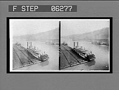 view Loaded coal barges and steamers on the Monongahela River. [Active no. 13224 : black-and-white stereo interpositive.] digital asset: Loaded coal barges and steamers on the Monongahela River. [Active no. 13224 : black-and-white stereo interpositive.]