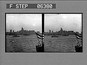 view [Low view of ships in harbor and city skyline. Active no. 13622, stereo interpositive.] digital asset: [Low view of ships in harbor and city skyline. Active no. 13622, stereo interpositive.]