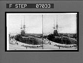 view H.M. Battleship Victoria in dry dock. 16878 interpositive digital asset: H.M. Battleship Victoria in dry dock. 16878 interpositive.