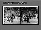 view Children leaving the village chapel, after devotions. 16887 Interpositive digital asset: Children leaving the village chapel, after devotions. 16887 Interpositive.