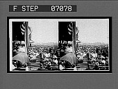 view The reviewing stand and crowds of spectators listening to President Roosevelt's speech. 18002 interpositive digital asset: The reviewing stand and crowds of spectators listening to President Roosevelt's speech. 18002 interpositive.
