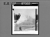 """view [Man viewing geyser.] """"Western Trip C.W.W. '04"""" on envelope. Active no. 260 : stereo interpositive,] digital asset: [Man viewing geyser.] """"Western Trip C.W.W. '04"""" on envelope. Active no. 260 : stereo interpositive,] 1904."""