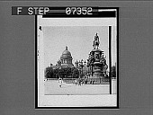 view [Equestrian statue and domed building in Russia. Active no. 491 : interpositive.] digital asset: [Equestrian statue and domed building in Russia. Active no. 491 : interpositive.]