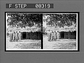 view [Family group in front of rustic home. Active no. 05503 stereo interpositive.] digital asset: [Family group in front of rustic home. Active no. 05503 stereo interpositive.]