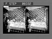 view [Informal group of college coeds in bedroom. No. 13 : stereo photonegative.] digital asset: [Informal group of college coeds in bedroom. No. 13 : stereo photonegative.]