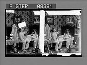 view [Family in dramatic home bedroom scene.] 60 photonegative digital asset: [Family in dramatic home bedroom scene.] 60 photonegative.