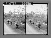 view [Three rickshaws on roadway in Japan.] 162 photonegative digital asset: [Three rickshaws on roadway in Japan.] 162 photonegative.