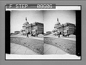 view [Side view of U.S. Capitol from street level.] 441 photonegative digital asset: [Side view of U.S. Capitol from street level.] 441 photonegative.