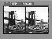 view [Low view of Brookly Bridge with boats in foreground.] 446 photonegative digital asset: [Low view of Brookly Bridge with boats in foreground.] 446 photonegative.