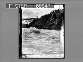 view [Low view of Niagara River rapids and bridge.] 501 photonegative digital asset: [Low view of Niagara River rapids and bridge.] 501 photonegative.