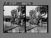 view [Flag ceremony on dock in the Orient.] 1052 photonegative digital asset: [Flag ceremony on dock in the Orient.] 1052 photonegative.