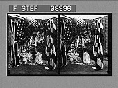 view [Little girl in nightgown praying before flag-draped martyred presidents' portraits. Active no. 1121 : stereo photonegative.] digital asset: [Little girl in nightgown praying before flag-draped martyred presidents' portraits. Active no. 1121 : stereo photonegative.]