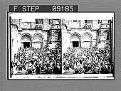 view (34) Rushing from the Church of the Holy Sepulchre with Holy Fire, Jerusalem. Copyright 1903 by the American Stereoscopic Co. 1389 photonegative digital asset number 1