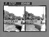 view West Point Cadets, passing reviewing stand, Inauguration Parade. [Active no. 1668 : stereo photonegative,] digital asset: West Point Cadets, passing reviewing stand, Inauguration Parade. [Active no. 1668 : stereo photonegative,] 1905.