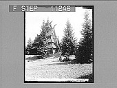 view The old Church of Gol, a quaint 12th century church resonstructed in the royal park at Oscarshal. [Active no. 610 : non-stereo photonegative,] 1905 digital asset number 1