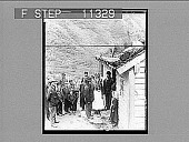 view A Nordfjord bride and groom with guests and parents at their house door, Brigsdal. 665 photonegative digital asset: A Nordfjord bride and groom with guests and parents at their house door, Brigsdal. 665 photonegative 1905.