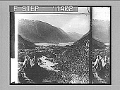 view Odde, and the southern end of mountain-walled Sorfjord--north from above the rapid Aabo river. 736 photonegative digital asset: Odde, and the southern end of mountain-walled Sorfjord--north from above the rapid Aabo river. 736 photonegative 1905.