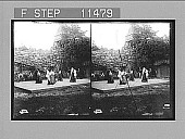 view Light-hearted young folks dancing out-of-doors at a summer festival in Skansen, near Stockholm. [Active no. 833 : stereo photonegative,] digital asset: Light-hearted young folks dancing out-of-doors at a summer festival in Skansen, near Stockholm. [Active no. 833 : stereo photonegative,] 1905.