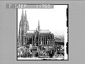 view The cathedral, the world's finest Gothic structure (towers 519 feet high), Cologne. 1229 Photonegative digital asset: The cathedral, the world's finest Gothic structure (towers 519 feet high), Cologne. 1229 Photonegative 1900.