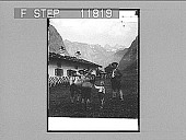 view Bavarian mountaineers; Bavarian country cottage. 1262 photonegative digital asset number 1