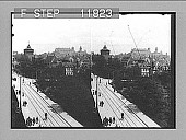 view Old city walls and watch tower at Nuremberg, looking N. toward castle. 1265 Photonegative 1905 digital asset number 1