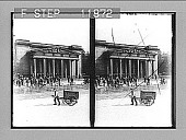 "view German officers at ""Royal Guards,"" Unter den Linden (S. across Pariser Platz), Berlin. Active no. 1298 : stereo photonegative digital asset: German officers at ""Royal Guards,"" Unter den Linden (S. across Pariser Platz), Berlin. Active no. 1298 : stereo photonegative, 1903."