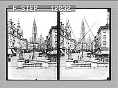 view East from quay Van Dyck along busy street to the stately Cathedral, Antwerp. 1483 Photonegative digital asset: East from quay Van Dyck along busy street to the stately Cathedral, Antwerp. 1483 Photonegative 1905.