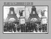 view Famous Exposition grounds--Chateau d'Eau and Eiffel Tower from across the Seine, 1900. [Active no. 1646 : stereo photonegative,] 1900 digital asset number 1