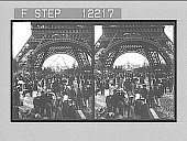 view Looking from under the great Eiffel Tower to the beautiful Chateau d'Eau. [Active no. 1647 : stereo photonegative,] 1900 digital asset number 1