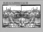 view From first platform (190 feet high) on Eiffel Tower, to Trocadero Palace (look down). 1700 Photonegative 1900 digital asset number 1