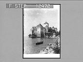 view The ancient Castle of Chillon, celebrated prison of Bonnivard, Lake Geneva. 1808 Photonegative 1906 digital asset number 1