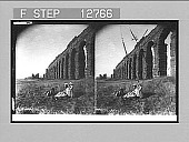 view Aqueduct of Claudius (42 miles long, constructed A.D. 52), near Rome [with figures in middle space]. 2010 Stereo photonegative, 1907 digital asset number 1