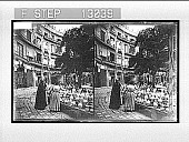 view Pottery venders, in Market Square, Valencia. [Active no. 2256 : stereo photonegative] digital asset: Pottery venders, in Market Square, Valencia. [Active no. 2256 : stereo photonegative, 1900.