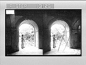 view Looking into a court, from one of the galleries of the great Cistercian Abbey of Alcobaca. 2341 Photonegative 1900 digital asset number 1