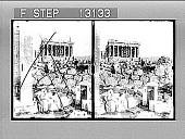 view The Parthenon, E. from Acroipolis entrance over ancient Pelasglan wall, Athens. 2374 photonegative digital asset: The Parthenon, E. from Acroipolis entrance over ancient Pelasglan wall, Athens. 2374 photonegative 1905.