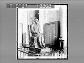 view Diorite statue of King Khafre, builder of the Second Pyramid at Giseh, Cairo. [Active no. 2527 : stereo photonegative,] 1896 digital asset number 1