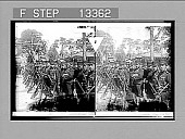 view Sturdy soldiers of Japan--1st Regiment Tokyo Imperial Guards starting for the war in Manchuria--Tokyo. [Active no. 4474 : stereo photonegative,] digital asset: Sturdy soldiers of Japan--1st Regiment Tokyo Imperial Guards starting for the war in Manchuria--Tokyo. [Active no. 4474 : stereo photonegative,] 1904.