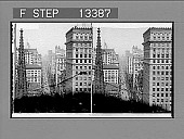 view From Empire Building north, past Trinity Church steeple, up Broadway, showing towers of 29-story Park Row Building. [Active no. 5306 : stereo photonegative,] 1902 digital asset number 1