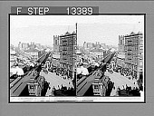 view Herald Square, junction of Broadway and Sixth Avenue, north, showing Herald Building and elevated railway. [Active no. 5317 : stereo photonegative,] digital asset: Herald Square, junction of Broadway and Sixth Avenue, north, showing Herald Building and elevated railway. [Active no. 5317 : stereo photonegative,] 1902.