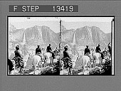 view Yosemite Falls, from Glacier Point trail. Caption No. 6027 : stereoscopic photonegative digital asset: Yosemite Falls, from Glacier Point trail. Caption No. 6027 : stereoscopic photonegative, 1901.